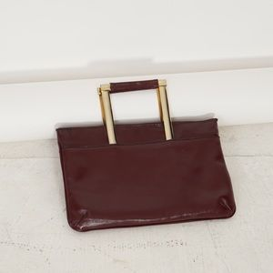 ['80s vintage] brown leather clutch
